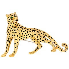 Cartier Panthere 18 Karat Yellow Gold Black Lacquer, Emerald Eyes Brooch