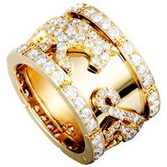 Cartier Panthère 18 Karat Yellow Gold Diamond Band Ring