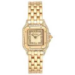 Cartier Panthere 18 Karat Yellow Gold Diamonds Ladies Watch WF3072B9