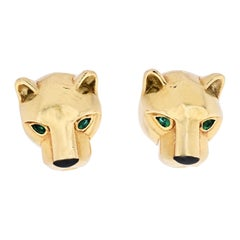 Cartier Panthere 18K Yellow Gold Head Stud Earrings