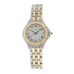 Cartier Panthere Cougar 187906C Steel Gold Date Quartz Watch