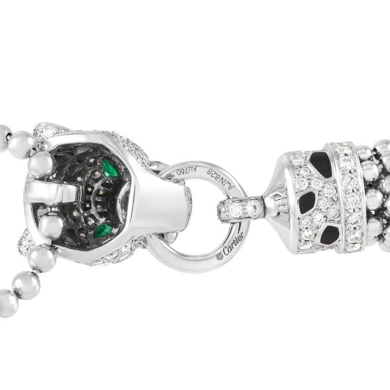 Women's Cartier Panthere De Cartier 18k White Gold 3.24 Ct Diamond Necklace For Sale