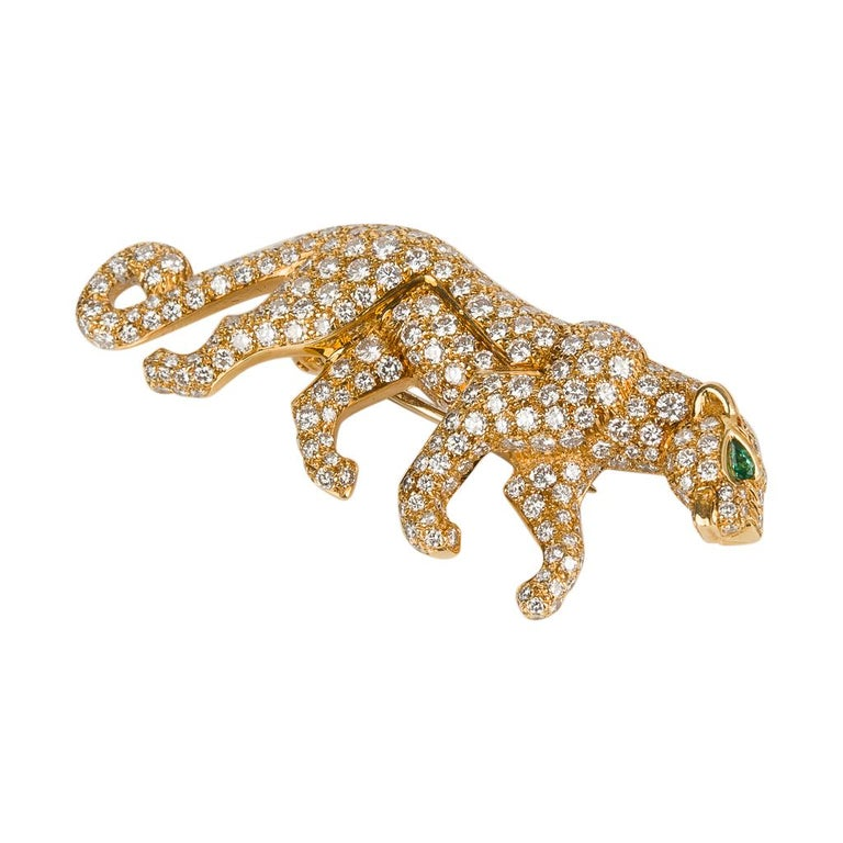 Cartier Panthere De Cartier Brooch Diamond Emerald Eye 18K Gold Signed Numbered In Good Condition For Sale In Miami, FL