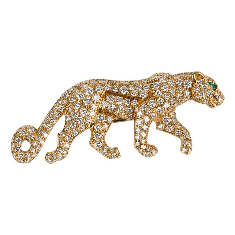 Cartier Panthere De Cartier Brooch Diamond Emerald Eye 18K Gold Signed Numbered For Sale 2