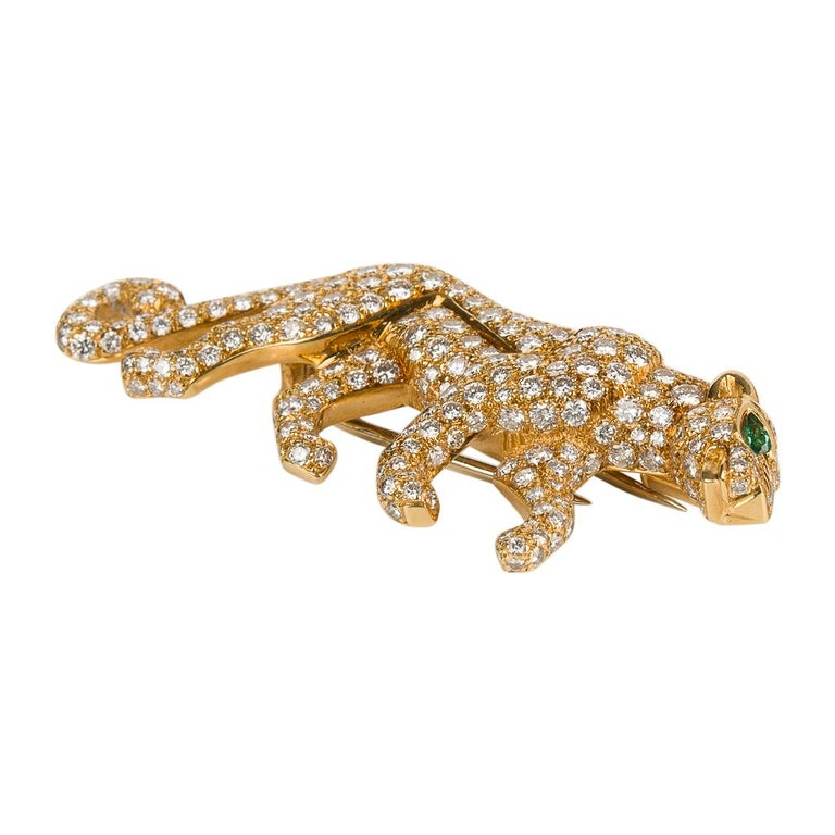 Cartier Panthere De Cartier Brooch Diamond Emerald Eye 18K Gold Signed Numbered For Sale 4