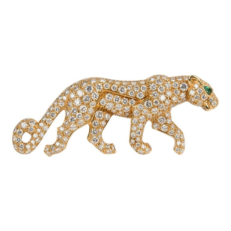 Cartier Panthere De Cartier Brooch Diamond Emerald Eye 18K Gold Signed Numbered For Sale