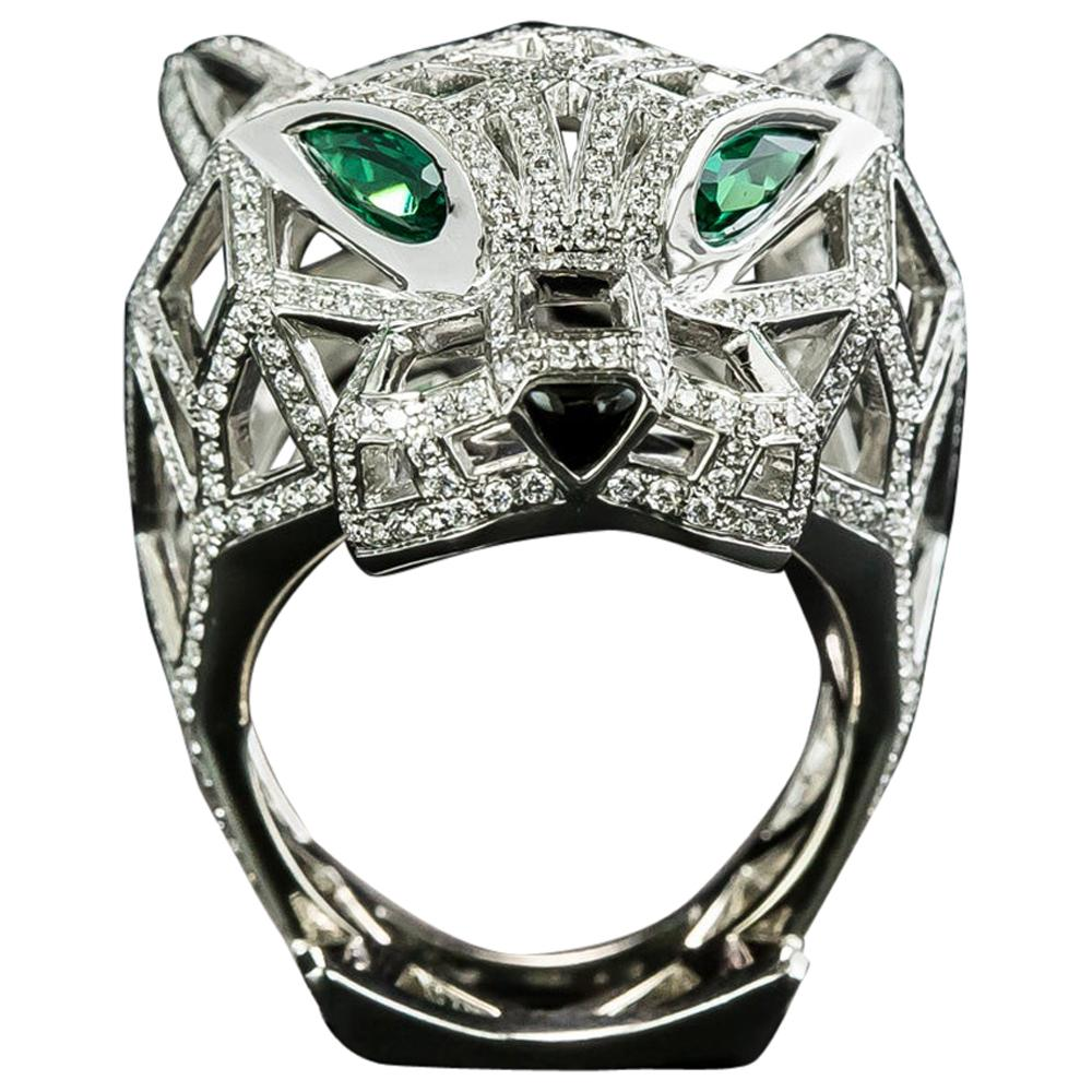 Cartier Panthere de Cartier Diamond and Emerald Ring