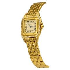 Cartier Panthere De Cartier Diamond Case 18k Yellow Gold Watch