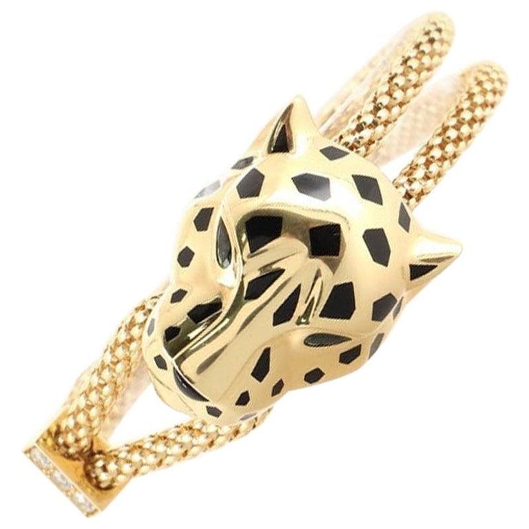 Cartier Panthere de Cartier Enlace Bracelet 18K Yellow Gold with Diamonds, Black For Sale
