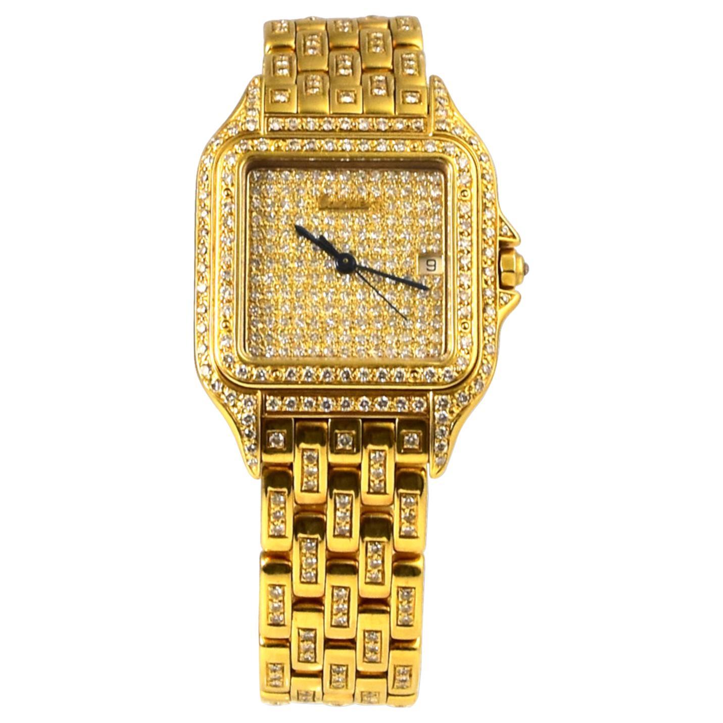 Cartier Panthere De Cartier in 18k Yellow Gold Diamond Watch