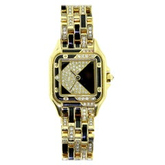 Cartier Panthere de Cartier Reference 12802 Diamond Onyx Watch in Yellow Gold