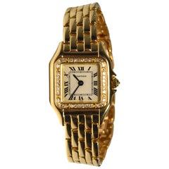 Cartier Panthere De Cartier w/ Diamond Bezel 18k Yellow Gold Watch