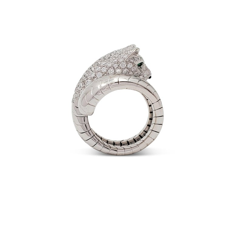 Authentic Cartier ring from the Panthère de Cartier collection centering on a single panther, an iconic symbol of the house. The ring is crafted in 18 karat white gold and set with approximately 2.00 carats of round brilliant cut diamonds (E-F