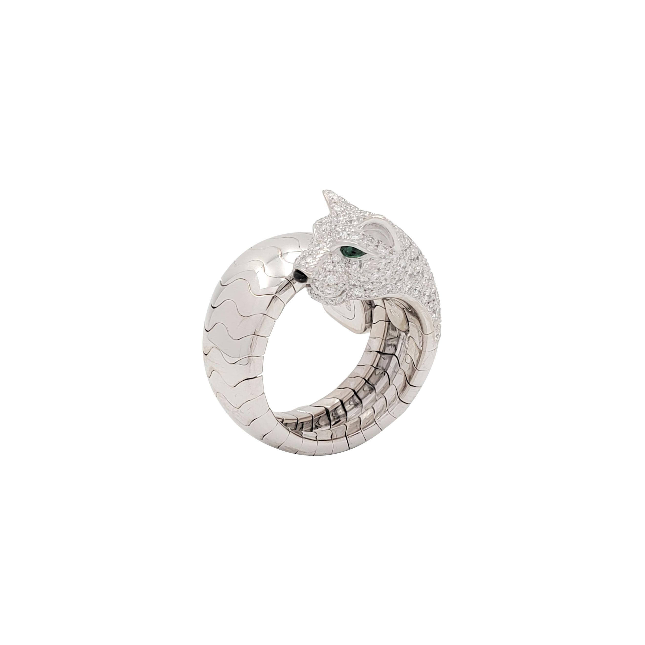 Cartier Panthère de Cartier White Gold Diamond Emerald and Onyx Ring