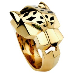 Cartier Panthère de Ring 18 Karat Yellow Gold, Lacquer, Tsavorite Garnet, Onyx