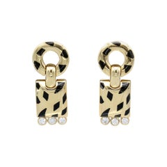 Cartier Panthere Diamond, 18 Karat Gold and Black Lacquer Pendant Earrings