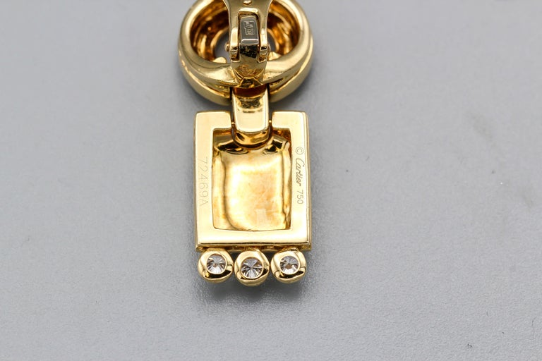 Cartier Panthere Diamond, 18 Karat Gold and Black Lacquer Pendant Earrings For Sale 1