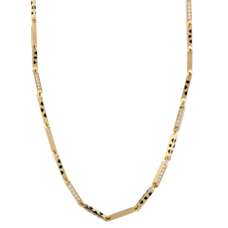 Cartier Panthere Diamond and Black Lacquer Gold Collar Necklace For Sale
