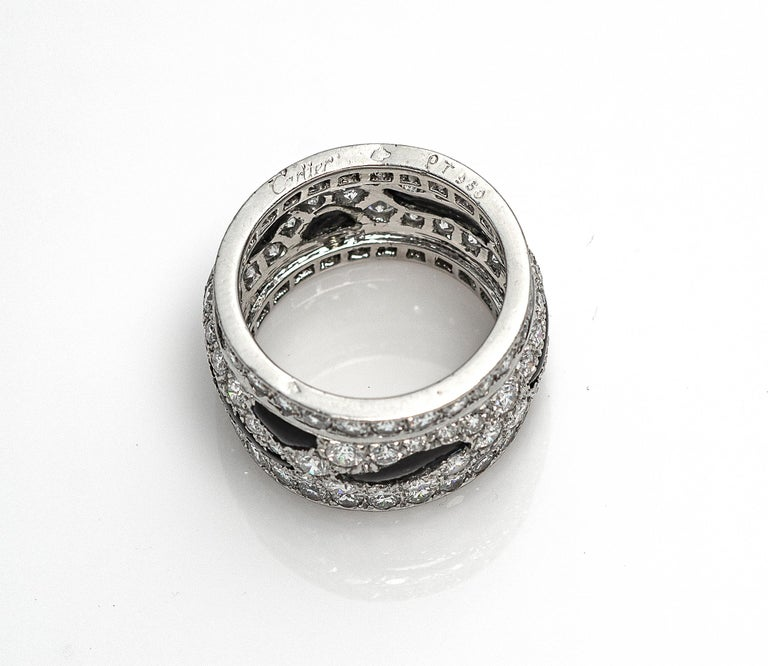 Brilliant Cut Cartier Panthère Diamond and Onyx Band Ring For Sale