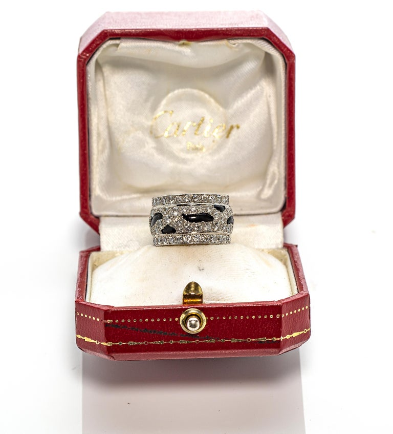 Cartier Panthère Diamond and Onyx Band Ring In Excellent Condition For Sale In New York, NY