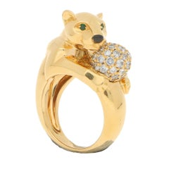 Cartier Panthere Diamond Cocktail / Engagement Ring Set in 18k Yellow Gold