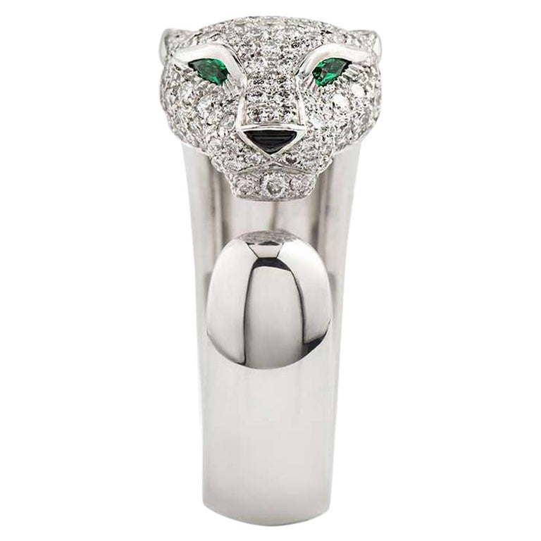 Cartier Panthere Diamond Emerald and Onyx Ring N4224900 For Sale