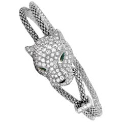 Cartier Panthère Diamond, Emerald and Onyx White Gold Panther Bracelet