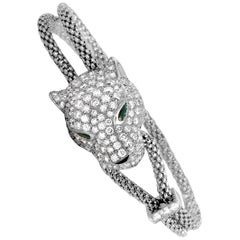 Cartier Panthère Diamond, Emerald and Onyx White Gold Panther Bracelet