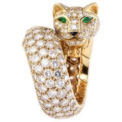 Cartier Panthere Diamond Emerald Onyx 18 Karat Gold Ring