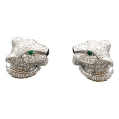 Cartier Panthere Diamond Emerald Onyx and 18 Karat White Gold Cufflinks