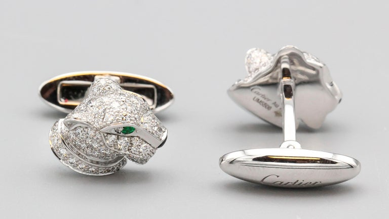 Cartier Panthere Diamond Emerald Onyx and 18 Karat White Gold Cufflinks In Excellent Condition For Sale In New York, NY