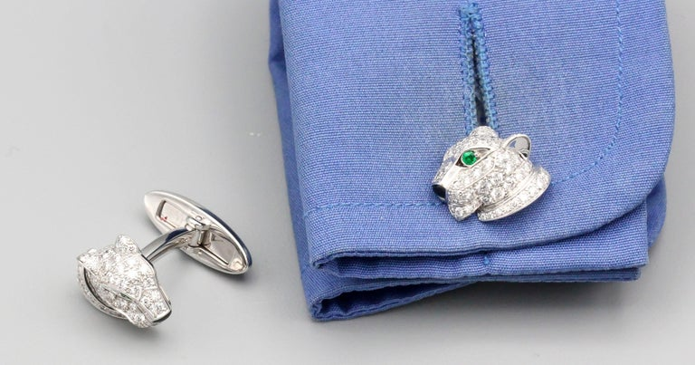 Cartier Panthere Diamond Emerald Onyx and 18 Karat White Gold Cufflinks For Sale 1