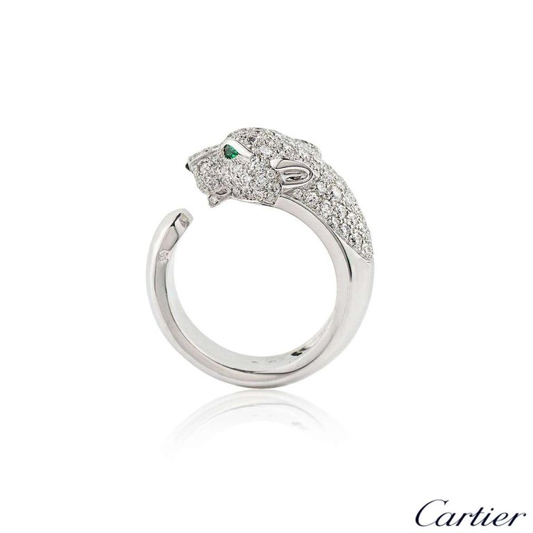 Round Cut Cartier Panthere Diamond Emerald and Onyx Ring N4224900 For Sale