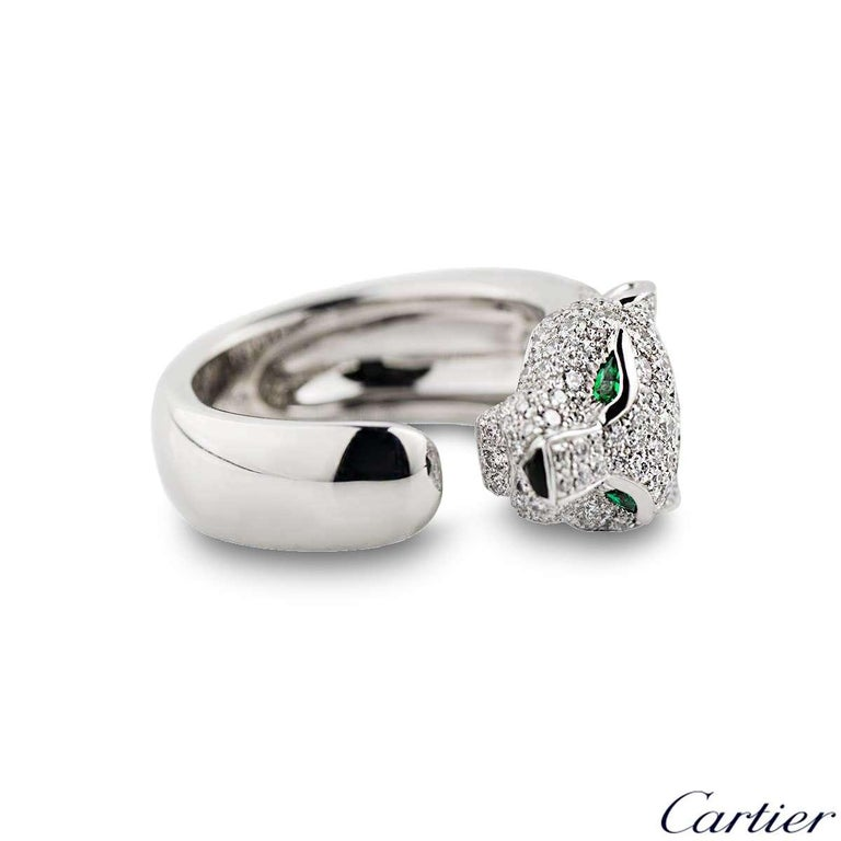 Women's Cartier Panthere Diamond Emerald and Onyx Ring N4224900 For Sale
