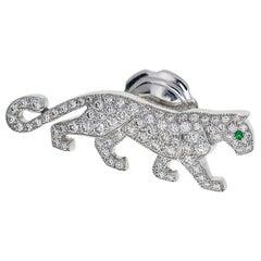 Cartier Panthere Diamond Emerald Pin Brooch 18 Karat White Gold
