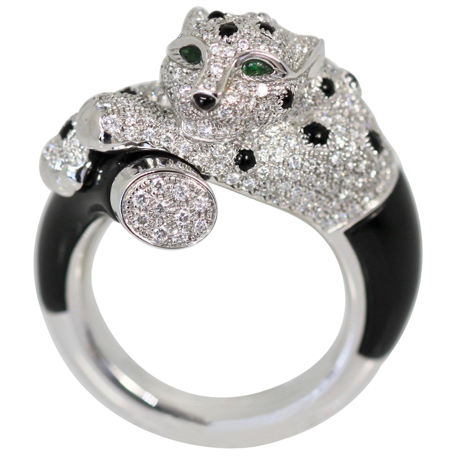 4952649672f18 Cartier Panther Ring, Diamonds, Emeralds and Onyx