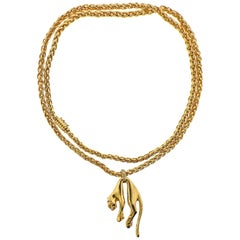 Cartier Panthere Diamond Gold Pendant Long Necklace
