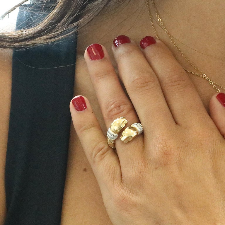 Single Cut Cartier Panthere Diamond Gold Ring For Sale