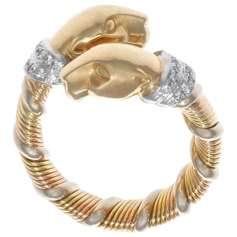 Cartier Panthere Diamond Gold Ring For Sale