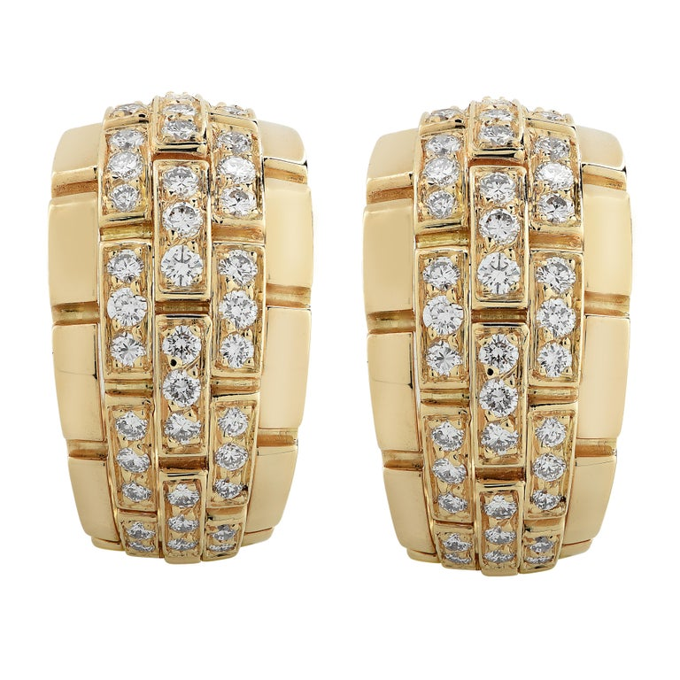 Modern Cartier Panthere Diamond Hoop Earrings For Sale