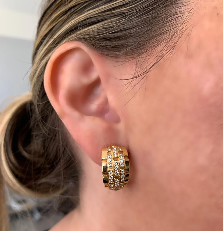Round Cut Cartier Panthere Diamond Hoop Earrings For Sale