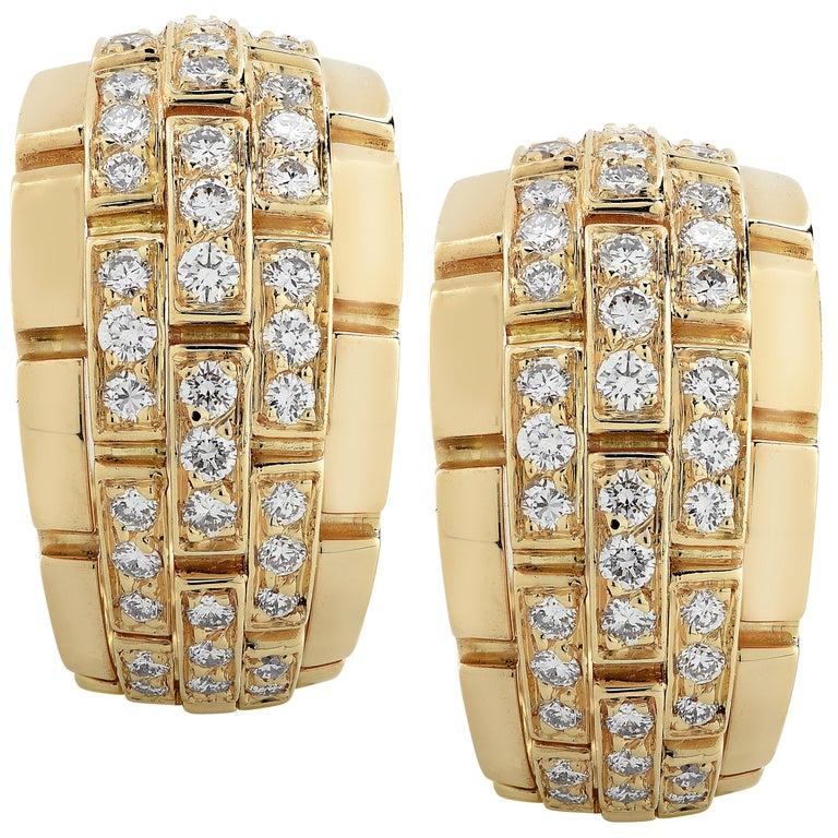 Cartier Panthere Diamond Hoop Earrings For Sale
