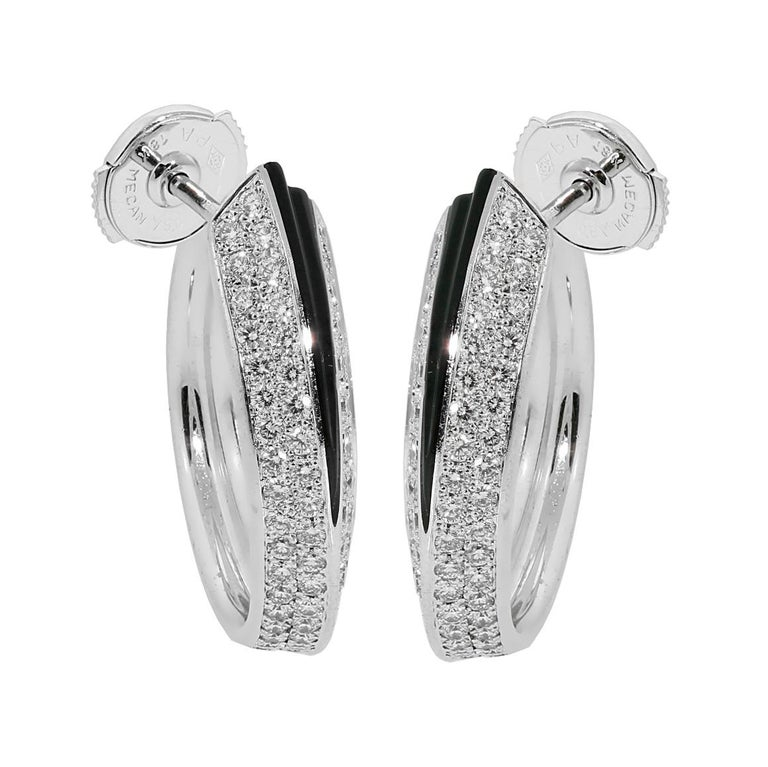 Women's Cartier Panthere Diamond Onyx Gold Earrings For Sale
