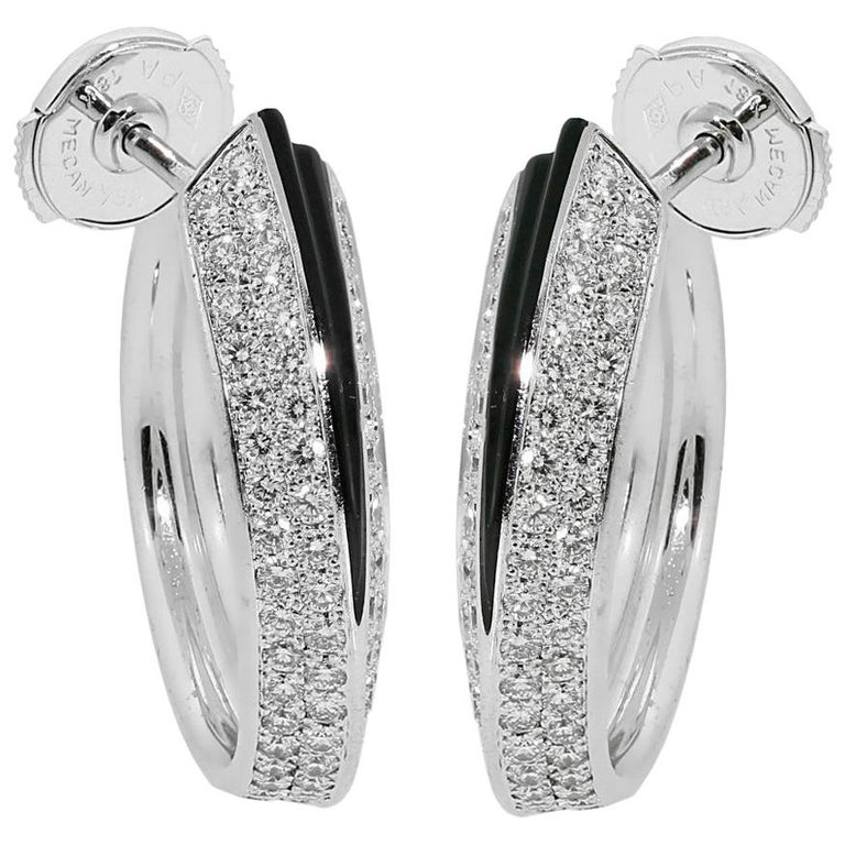 Cartier Panthere Diamond Onyx Gold Earrings For Sale