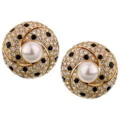 Cartier Panthere Diamond Pearl Yellow Gold Vintage Earrings