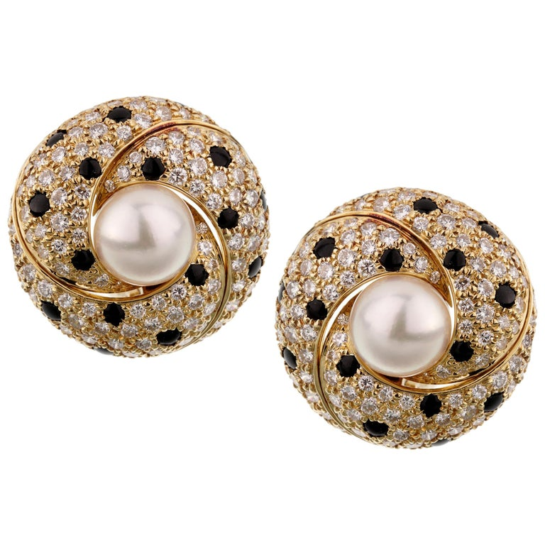 Cartier Panthère diamond, pearl and yellow-gold earrings, 1990s