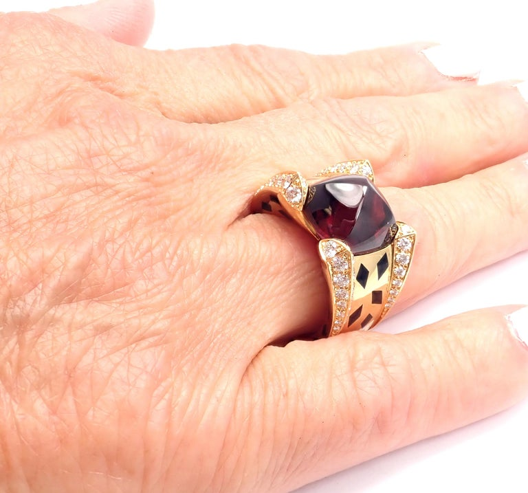 Cartier Panthere Diamond Rhodolite Garnet Black Lacquer Spots Yellow Gold Ring For Sale 5