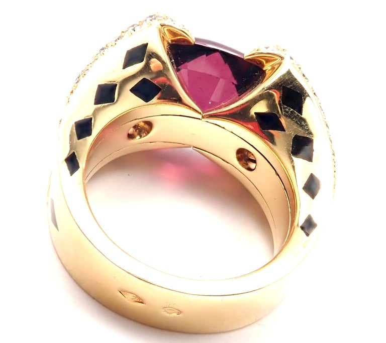 Cushion Cut Cartier Panthere Diamond Rhodolite Garnet Black Lacquer Spots Yellow Gold Ring For Sale