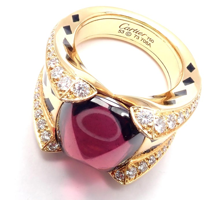 Women's or Men's Cartier Panthere Diamond Rhodolite Garnet Black Lacquer Spots Yellow Gold Ring For Sale