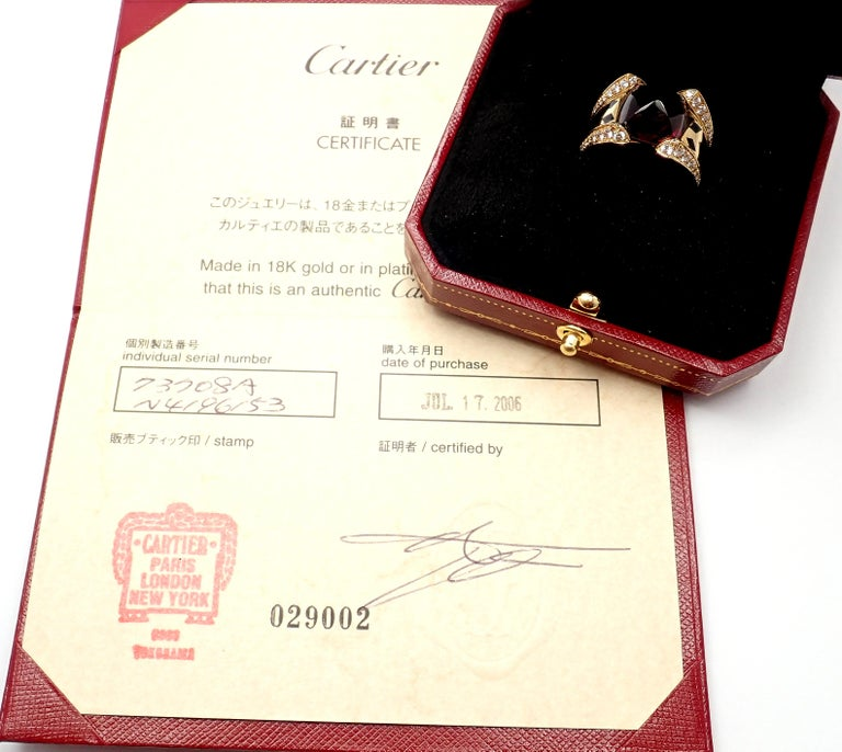 Cartier Panthere Diamond Rhodolite Garnet Black Lacquer Spots Yellow Gold Ring For Sale 1